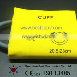 Yellow Color Reusable Double Tube NIBP Cuff for Small Adult TPU Material 20.5-28cm