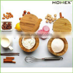Food Safey Bamboo Spice Storage Box and Salt Box with Cover/Homex_FSC/BSCI Factory