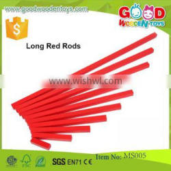 Wooden Montessori Sensorial Toy Long Red Rods