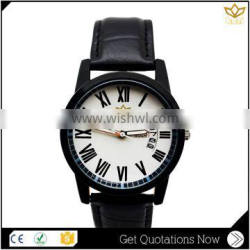 New arrival month date display stainless steel leather bid dial automatic quartz unisex watch Y008
