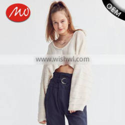 Ladies long sleeve fashion asymmetrical modern knitting crop top sweater with best quality