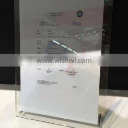 2016 hot sale acrylic certificate frame, cheap certificate holders