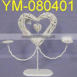 Decorative White Willow Heart Candle Holder