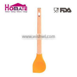 Silicone salad spoon with wooden handle
