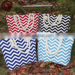 Popular Monogrammed Bag Chevron Canvas Beach Bag With White Rope