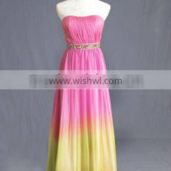 Strapless Gradient Silk Chiffon Sheath Evening Dress with Crystal Embellishment in Waist EY0029