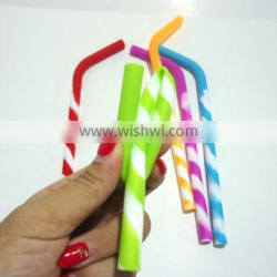 Customize Reusable Stripes Straws 5 Pack & Food Grade Silicone Drinking Straws