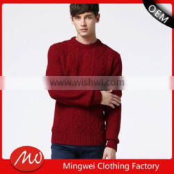 Mans round colloar cable knit pattern pullover sweater with high quality