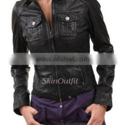 Black leather jacket for Woman 100% pure cow skin
