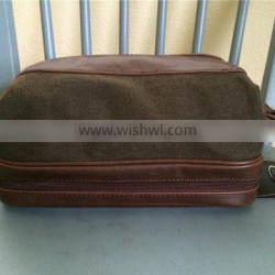 Vintage Waxed Canvas Leather Travel Toiletry Bag with Extra Storage