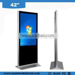 Airport station shopping mall floor stand wifi HD 42 inch LCD advertising touch screen kiosk,information kiosk