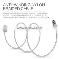 Wsken X-Cable Metal Mini 2 Magnetic Cable For Micro USB 2.4A Anti Winding Nylon Braided LED Quick Transfer Data Cable
