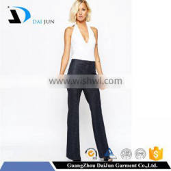 Daijun oem high quality fit deep blue crepe girl half pants and fashion high school girls in trousers