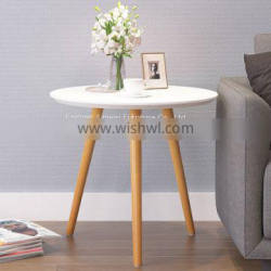 Modern cheap white small round size wood dining table