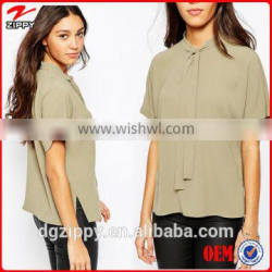 Short Sleeve Pussy Bow new model lady fashion blouse designs