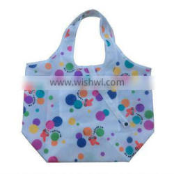 China bag manufacture promotional cheap fashion nylon shopping bag small pocket inside