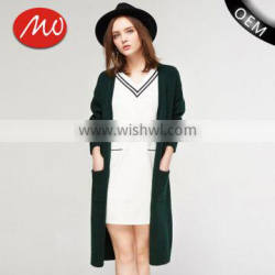 high quality popular sweater women knit ladies long coat design with pocket