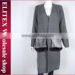 Wholesale in stock V-neck cardigan woolen sweater designs for ladies