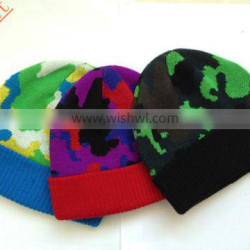 Different colors knitted camouflage hat