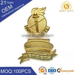 OEM cheap promotion various style brass color custom metal triumph badge