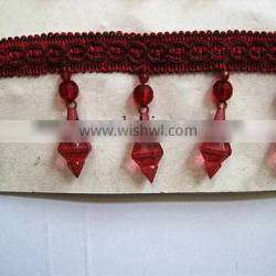 Hot Sell Red Acrylic Beaded Fringe Trim For Curtain, Furniture; Beaded Curtain Lace