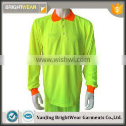 Men's polyester pique safety manufacture two tone high visibility polo shirt