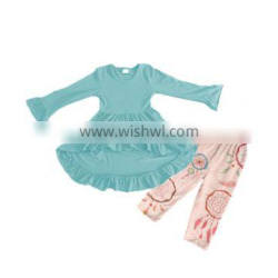 Popular kids solid shirts tops ruffle legging pants outfits baby pants outfit girls dress outfit