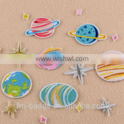 new hand cheapest 3D embroidery patch applique, Planet Series sky star iron on back in stock