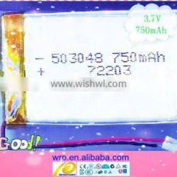 750mAh 3.7v li-ion polymer battery for LED, security products