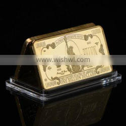 WR One Billion Gold Bar 24k 999.9 American Bill Note Fake Bars Quality Us Art Ornament with Plastic Case for Collection