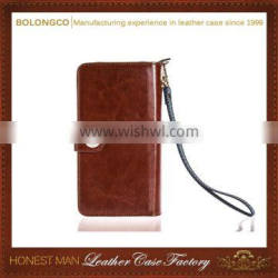 Trendy Oem magnetic flip cover stand zip wallet leather case with strap for iphone galaxy note