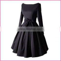long sleeves boat neck belted side bowknot high waisted evening dress