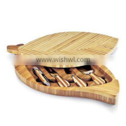 CK-6062 Wooden cutting board with 4 pieces Stainless steel kitchen cheese knives set