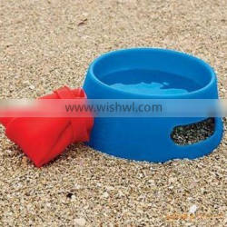 easy carry foldable silicone pet feeding bowl