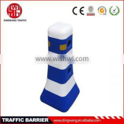 plastic safety barriers Blue white plastic road safety barrier