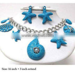 2013 Multi metal seed beads on sea life theme charm fashion colorful dangle necklace earring set