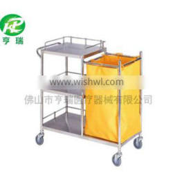 Stainless Steel Instrument Dressing Trolley / Dirty Hospital Linen Trolley With Three Shelves