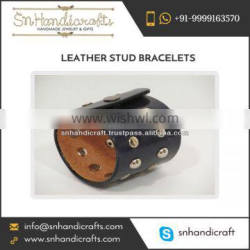 Leather Studded Bracelet for Men Available at Affordable Rate