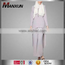 Latest Fashion Islamic Clothes Ladies Muslim Top sets Two-piecesTunic &Trousers Suits Muslim Ladies Tunic /Pants Suits