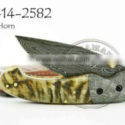 Damascus Steel Folding Knife DD-14-2582