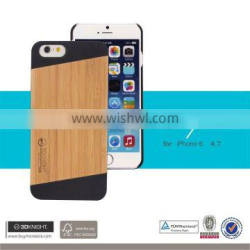 DIY Sublimation Blank mobile Cover Unique Custom Phone Cases, natural bamboo black PC case for iphone 6 6s