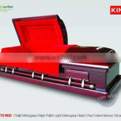 solid mahogany wood casket full couch funeral product MAGISTARTE RED Mahogany solid wood casket