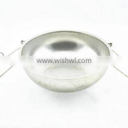 Hot sale wide edge stainless steel mesh basket with hollow handle and knob