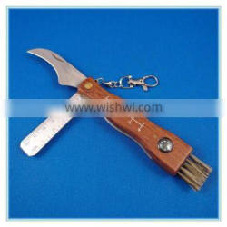 Medium size brush stainless steel mushroom knife with ruler and compass