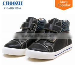 New Model Fashionable PU Leather High Top Sneakers for Children
