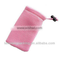 Small microfiber drawstring mesh pouch