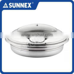 SUNNEX Professional Compact High Polished Hydraulic Hinge Round 6.8Ltr. Buffet Induction Chafing Dish