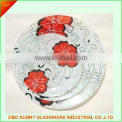 The round and square temperd glass plate ,dishes set of 3pcs
