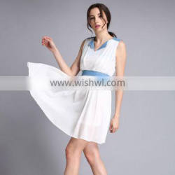New Qualified Women Summer Dress Color Patchwork Draped Femme Robe Lady 2016 Chiffon Dress Casual