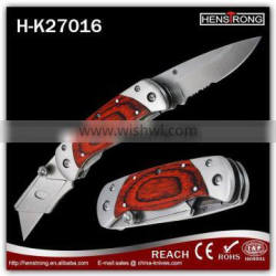 Wood handle stainaless steel two blades utility knife